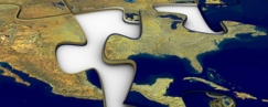 Puzzle piece with picture of the world